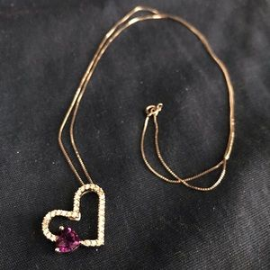 Diamond Heart Necklace with Amethyst Heart